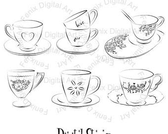Digital Stamp,Clipart,Line art,Tea cups clipart,Tea cups graphics,Digi stamp,digistamp,Illustration INSTANT DOWNLOAD