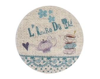 """Linen button """"tea time"""" blue green 32 mm"""
