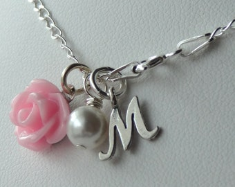 Flower Initial Children Girl Necklaces, Initial Monogrammed Necklace, Pearl Necklace, Flower Girl Necklace, Shabby Chic Necklace