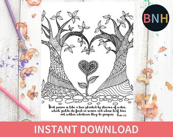 Psalm 13 Scripture Coloring Page Bible Heart Tree Printable Color Verse Worship
