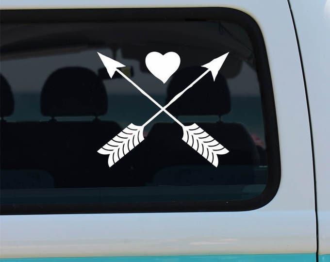 Heart and Arrow Decal - Car Sticker - Window Decal - Arrow Decals - Heart Decals - Arrow Car Decal - Arrow Vinyl Sticker