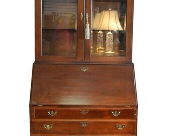 Craftique Bookcase Secretary, Desk, Solid Mahogany, 82″H, PA5030JLR, SHIPPING NOT FREE!!!