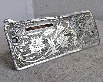 Sewing machine face plate Antique faceplate sewing machine Old sewing tools Retro embossed engraved pattern Vintage sewing machines parts