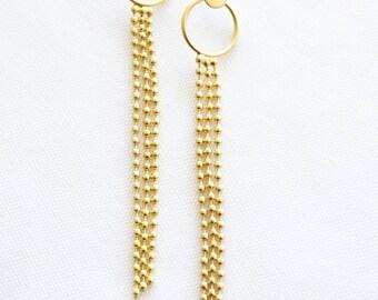 long (11 cm) gold plated modern earrings ,  Long Composition Post Earrings, Geometric earrings, signature earrings, Architectural jewelry