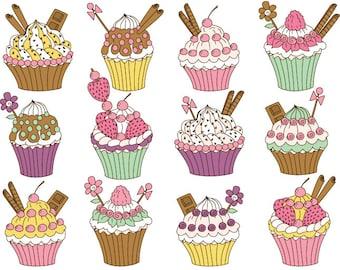 Cupcakes Clipart - Digital Vector Cupcake, Chocolate, Strawberry, Cupcake Clip Art