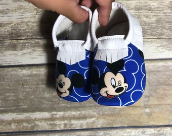 Mickey Mouse Moccs- Baby Moccs- Baby Moccasins by TexasMoccs