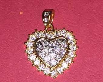 Vintage Gold Tone Crystal Pave Heart Pendant
