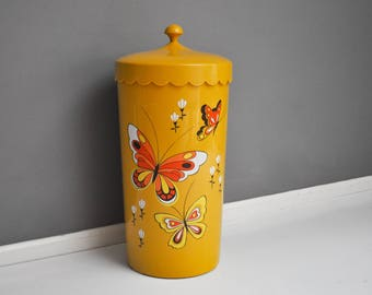 Vintage Yellow Scalloped Butterfly Clothes Hamper