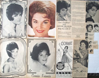 CONNIE FRANCIS ~ Who's Sorry Now, Stupid Cupid, My Happiness, Lipstick On Your Collar ~ Color, B&W Clippings, Articles, Pin-Ups fm 1959-1966