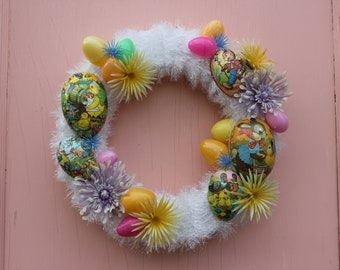 Easter Wreath with Vintage Paper Mache Eggs.