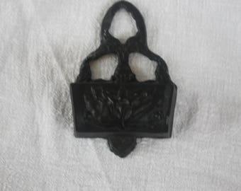 Vintage Cast Iron Black Match Holder