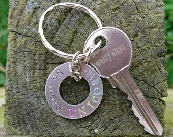 CUSTOM - Washer Keyring / Keychain - Aluminium, choose your words, unique gift, inspired by you