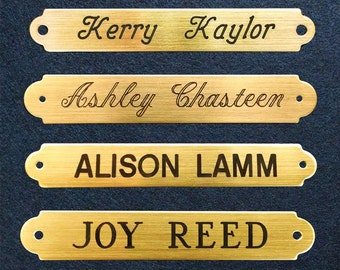 """SADDLE BRIDLE BROW Plate XSmall 2 1/2"""" x 3/8"""" Solid Brass or Nickel Silver Custom Engraved Horse or Pet Collar I.D. Tag"""