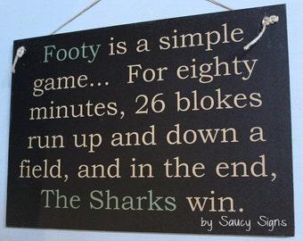 Simple Game Cronulla Sharks Rugby League Footy Football Sign Bar Pub Man Cave