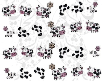 Cow Nail Art Glittery Nail Stickers