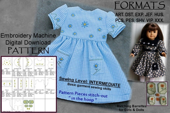 18-Zoll-Puppe Kleid Muster-Stickmaschine DIGITAL DOWNLOAD
