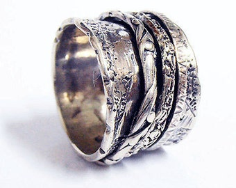 Spinning Ring, Spinner Ring, Meditation Ring, spin ring,  sterling silver 925 ,  Prayer ring, Israeli Jewelry.Unique rings.Handcrafted ring