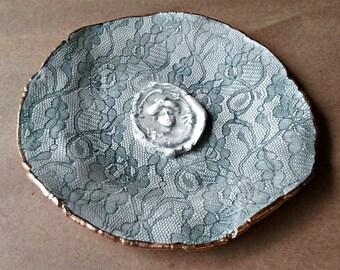 Ceramic Free Form DecorativeTrinket bowl jewelry dish Gold edged