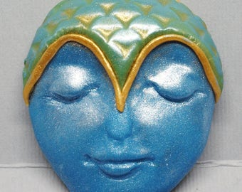 Large Blue and Green Mermaid with Gold Accent Polymer Clay Art Doll Face Cabochon