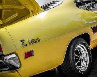 1971 Ford Torino Cobra Car Photography, Automotive, Auto Dealer, Muscle, Sports Car, Mechanic, Boys Room, Garage, Dealership Art