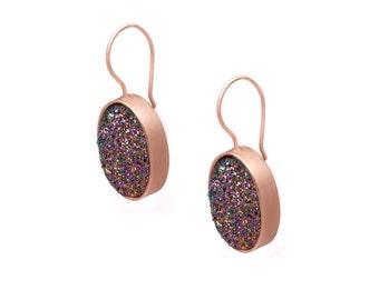 Druzy Drop Earrings - Peacock Druzy in Rose Gold Earrings - Large Druzy Earrings - Oval Druzy - Dangle Earrings