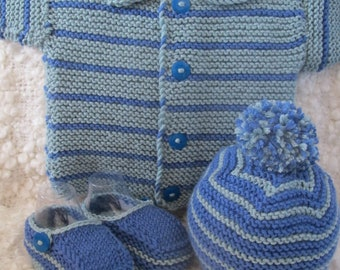 Hand Knitted Baby Boy Outfit/Layette