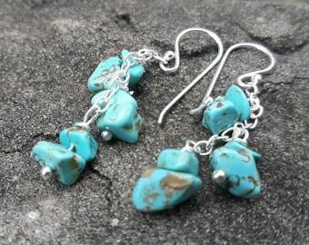 Turquoise sterling silver earrings,stone earrings,fashion earrings,dangle earrings