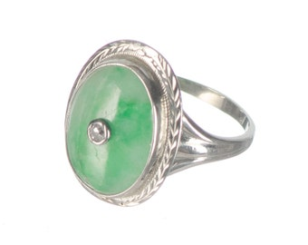 Art Deco Green & White Jade with diamond in 18k gold ring