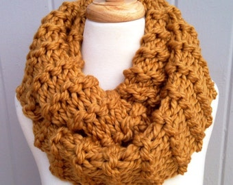 Chunkiy knit yellow cowl scarf, accessories, knit infinity scarf, bulky scarf cowl, looped scarf, infinity cowl, cowl scarf, the knitt