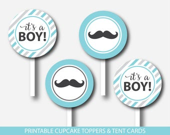 Mustache cupcake toppers and mustache tent cards in turquoise & gray, Mustache favors, Mustache buffet cards, Mustache theme party, BM1-17