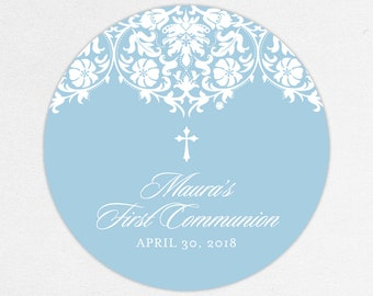 Lace Communion Labels, Blue Communion Stickers, First Communion Labels, First Communion Stickers, First Communion Tags, Girl Communion Label