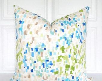 Blue Green Pillow, Tan and Blue Pillow , Decorative Pillow, Blue Abstract Pillow, Blue and Green Throw Pillow, Toss Pillow, 18x18