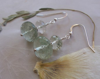 Prasiolite Green Amethyst Gemstone Faceted Rondelle Beaded Dangle Earrings ~ Sterling Silver Earwires