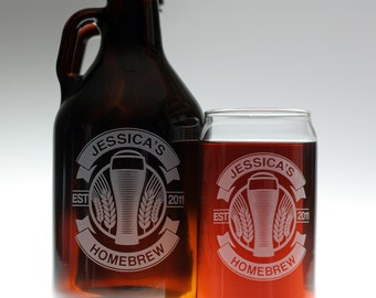 Fathers Day,Gift for Dad,Gifts for Him, Growler and 2 Glass Set with Double Banners Curved Wheat Art,Homebrew,Beer Gift,Man Gift