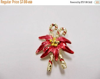 On Sale Vintage Enameled Candy Cane with Poinsettia Pin Item K # 1631