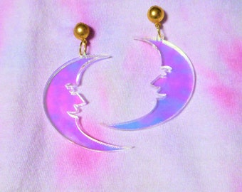 Holographic CRESCENT MOON Acrylic Earrings with Gold  Dome Earring Stud Posts