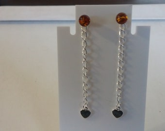 Sterling and amber convertible earrings