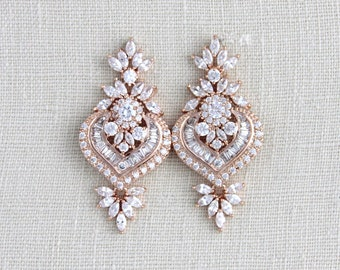 Rose Gold Bridal earrings, Crystal wedding earrings, Wedding jewelry, Swarovski, Rose Gold earrings Crystal earrings Art Deco earrings, EMMA