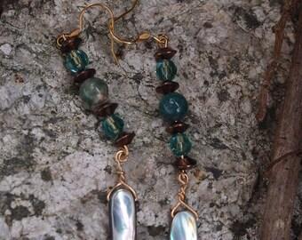 Stacey~Boho Earrings~Shell Earrings~Tribal Earrings~Indie Earrings~Handmade Earrings~Moss Agate Earrings~Australian Seller~Hippy Earrings