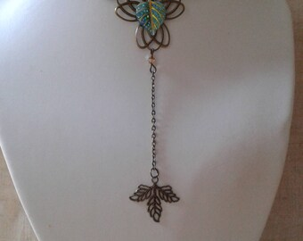"""lotus flower and leaf green"" Choker necklace"