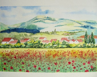 poppy field landscape watercolor painting
