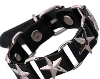 Brand New Handmade Leather Star Bracelet.