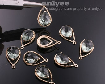 2pcs-20mmX13mGold Faceted NEW Style Tear Drop With Glass pendants-Grey(Charcoal)(M333G-F)