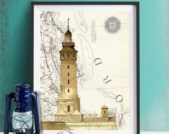 Lighthouse print - Lighthouse on rock on Nautical Map print - lighthouse art lighthouse décor Nautical print Nautical Wall Decor fathers day