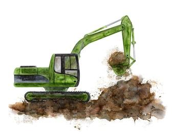 Excavator Wall Art - Construction Nursery Art - Toddler Room Decor - Truck Print - Kids Playroom Art - Nursery Print - Construction Digger