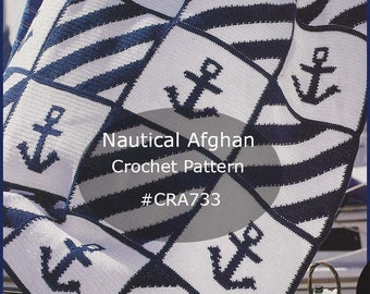 Nautical Anchor Afghan Crochet Pattern ~ Intarsia Technique Used~ Sailing Anchor Afghan To Crochet #CRA733-PDF-Mailed Available- DurhamDeals