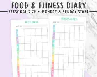 Personal FOOD & FITNESS DIARY Printable | Pastel, Food Log, Food Diary, Meal Log, Workout Tracker, Workout Diary, Filofax, Kikki K