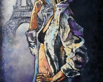"""Oil Painting original portrait """" Paris """",   Eiffel Tower, woman portrait, girl portrait, painting portrait lady, Canvas Original,  art decor"""