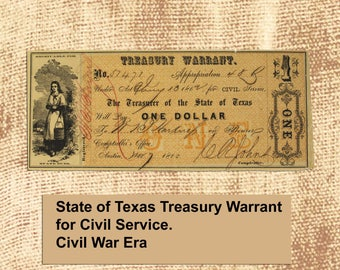 Civil War Era Texas Treasury Warrant - 1863 - for Civil Service - Milkmaid Etching - Excellent Condition