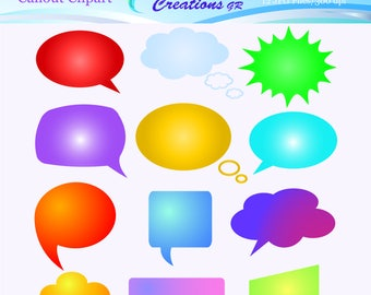 Callout Clipart, Speech Bubble Clipart, Thought Bubble Clipart, Digital Images,  Digital Comic Bubble Clipart, Personal & Commercial Use